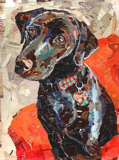 Dog Collage Portrait Summit Print 22 x 28 by MaritzaHernandezArt Paper Collage Art, Paper Art, Collages, Collage Portrait, Magazine Collage, Dog Quilts, Photocollage, Dog Portraits, Animal Paintings
