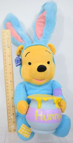 NEW Winnie the Pooh Disney Easter Spring Bunny Rabbit Funny Hunny Talks Plush #Disney