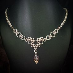 Sterling silver plated and Rose Gold Chainmaille Necklace