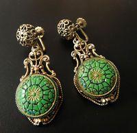 VINTAGE VERIFIED JULIANA GREEN ART GLASS FILIGREE SCREW BACK EARRINGS #860A
