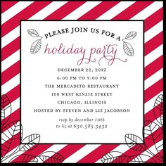 Red stripes holiday party invitation