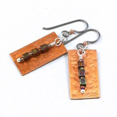 #Handcrafted #Hammered #Copper #Earrings #Silver Niobium Czech Glass Beads #SolanaKaiDesigns @solanakaidesigns on Etsy!