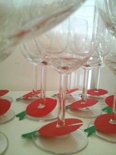 Special Rosh Hashana apple decoration for wine glasses קישוט לראש השנה, עיצוב שולחן