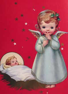 60s Angel Baby Jesus Vintage Religious Christmas Card 1357 | eBay