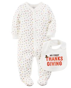 A cozy snap-up sleep & play pairs perfectly with a festive bib for your little turkey's first Thanksgiving.