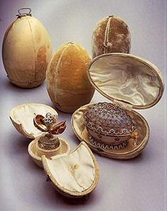 The Concise History of Fabergé Eggs. The Original Cases containing the Eggs - hand delivered by Carl Faberg - an event everyone waited for including the public.