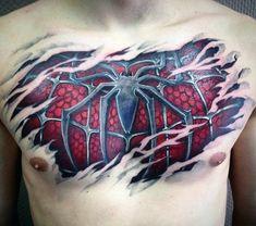 100 Spiderman Tattoo Design Ideas For Men - Wild Webs Of Ink - tattoo for men on chest Spiderman Tattoo, Marvel Tattoos, 3d Tattoos, Print Tattoos, Small Tattoos, Girl Tattoos, Tattoos For Guys, Tatoos, Tattoo Sleeve Designs