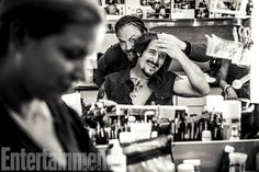Sons of Anarchy | What's going on here in the makeup trailer with Tommy Flanagan and Kim Coates (seated) is probably something makeup artist Michelle Garbin, who's been with