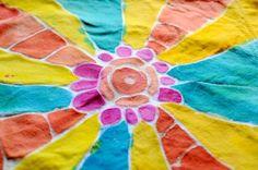 Glue batik project- using washable gel glue and paint on napkins to make school lunch reusable napkins- how eco-friendly! Artchoo.com