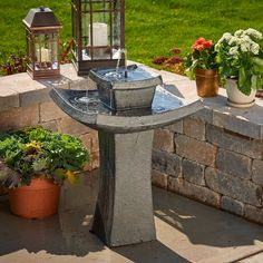 Shop for Outdoor Fountains in Fountains. Buy products such as Alpine Corporation Vintage Pedestal Fountain and Bird Bath, Green at Walmart and save. Solar Outdoor Fountain, Outdoor Fountains, Solar Fountains, Fountain Design, Fountain Ideas, Solar Powered Lanterns, Bird Bath Fountain, Cascade Water, Floating Garden