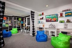 Kids Game Rooms Design, Pictures, Remodel, Decor and Ideas – page 4 - Raumteiler Teen Game Rooms, Boys Game Room, Teen Basement, Game Room Basement, Garage Playroom, Garage Room, Game Room Chairs, Game Room Decor, Bag Chairs