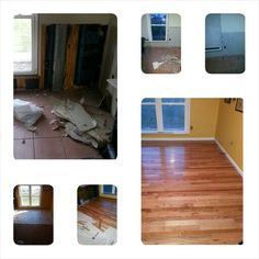 Bruce Hardwood flooring over tile with unexpected wall repair.  Total time: 3 days