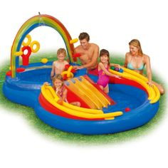 Inflatible Water Play Set Slide Back Yard Toys Pool Waterslide Surf Beach Baby $74.99 FREE SHIPPING