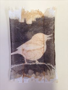 monotype with stencil on used tea bag. www.rubysilvious