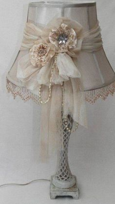 Shabby Chic Interior Design Ideas For Your Home Shabby Chic Interiors, Shabby Chic Cottage, Vintage Shabby Chic, Shabby Chic Style, Shabby Chic Furniture, Shabby Chic Lighting, Shabby Chic Lamp Shades, Lace Lamp, Lamp Makeover