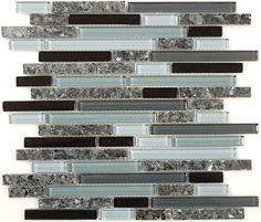Euro Glass  Random Brick, Random Bricks, Glass & Granite Midnight Sparkle GG-15, Glossy, Grey, Glass and Stone