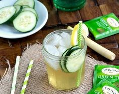 Green tea, lemongrass and cucumber cocktail*  *I would substitute Cathead honeysuckle vodka for gin.