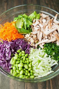 Asian Chicken Salad with Ginger Dressing add mandarin oranges and avocado Veggie Recipes, Asian Recipes, Real Food Recipes, Dinner Recipes, Cooking Recipes, Healthy Recipes, Meat Salad, Soup And Salad, Asain Salad