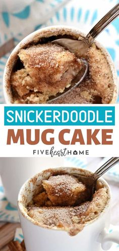 The perfect fall treat that your guests and family will enjoy! This Snickerdoodle mug cake is a fall dessert that bakes up in the microwave in just one minute, yielding a warm, cinnamon-sugary treat that will satisfy any sweet tooth! Save this holiday des Dessert Simple, Dessert In A Mug, Fall Dessert Recipes, Thanksgiving Desserts, Holiday Desserts, Thanksgiving Sides, Pumpkin Dessert, Dinner Recipes, Easy Mug Cake