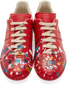 Maison Margiela Red Paint Splashed Replica Sneakers 281072484