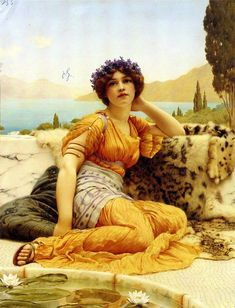 Godward With Violets Wreathed and Robe of Saffron Hue 1902 - John William Godward - Wikipedia John William Godward, Lawrence Alma Tadema, Victorian Paintings, Victorian Art, Rome Antique, Art Sculpture, Classic Paintings, Pre Raphaelite, Classical Art