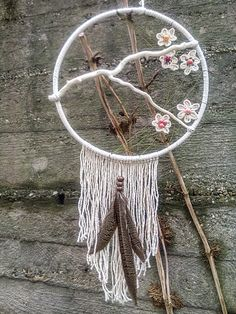 dreamcatcher, spring blossom, macrame flowers, pheasant feathers
