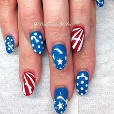 Instagram photo by  badluckbarbie #stars and stripes #4th of July #nail art