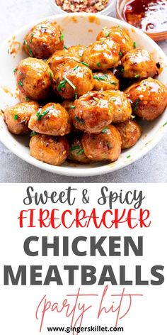 Spicy Chicken Meatballs aka Firecracker meatballs recipe with step-by-step instructions. These spicy and sweet twice-baked chicken meatballs are super easy to make and tastes delicious as an appetizer or in a meal! Baked Chicken Meatballs, Chicken Meatball Recipes, Lunch Recipes, Appetizer Recipes, Appetizers, Firecracker Meatballs, High Protein Recipes, Healthy Recipes, Sweet And Spicy