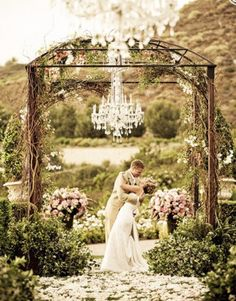 arch with vine detailing, chandelier optional