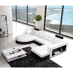T57C Modern Leather Sectional Sofa w/ Built-In Side Bookshelf - #sofas #furniture #LAfurniture #sectionalsofa #sectionals #couches #Furnituredesign #HomeDecor #whitesofa #leathersofa #leathersofas #leathercouch #leathercouches