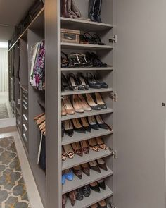 Half width shoe cupboard at end of walk in robe to follow wall but look finished and glamrous but practical too