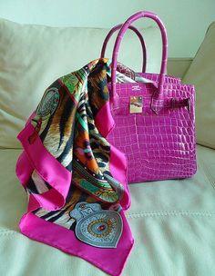 3a12202f59c4 Hot Pink Croc Birkin Hermes Kelly Bag