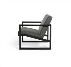 Calvin Kline Upholstered Furniture framed lounge chair tight upholstered cushions and wood framed base  black coal finish with solid ash frame http://www.explore.calvinklein.com/
