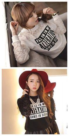 Women's sweet lace sweatshirt