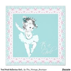 Teal Pink Ballerina Girl Baby Shower 5.25x5.25 Square Paper Invitation Card