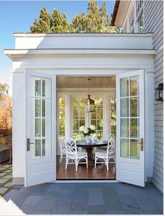 Sunroom with French Doors. Lovely Sunroom with French Doors. Future House, Sunroom Addition, Family Room Addition, Coastal Homes, Coastal Decor, My Dream Home, Beautiful Homes, Beautiful Images, New Homes