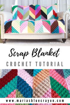 Crochet Scrap Blanket Tutorial - Maria's Blue Crayon - - This crochet scrap blanket makes a unique geometric chevron design that you will keep you interested in finishing and love the result! Crochet Afghans, Crochet C2c, Scrap Yarn Crochet, Crochet Video, Afghan Crochet Patterns, Crochet Crafts, Easy Crochet, Blanket Crochet, Tutorial Crochet