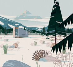Creation of a series of 60 chapter opening illustrations for a new Architecture book published by Taschen, titled Cabins.