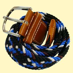 Bassin and Brown Belt Collection -   Cross Stripe Elasticated Woven Belt - Black/Brown/Blue/White            http://www.bassinandbrown.com/belts/cross-stripe-elasticated-woven-belt-black-blue-brown-white.html