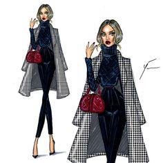 zeichnen 'Houndstooth Class' by Yigit Ozcakmak Dress Design Sketches, Fashion Design Sketchbook, Fashion Design Drawings, Fashion Sketches, Fashion Drawing Dresses, Fashion Illustration Dresses, Fashion Dresses, Moda Fashion, Fashion Art