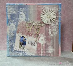 Mix media canvas - snowy Christmas