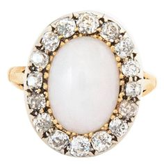 Late Victorian White Opal Diamond Silver Gold Ring 1