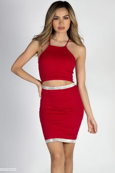 High Neck Strappy Cut Out Red Mini Dress with Sparkly Rhinestone Trim High Neck Strappy Cut Out Red Mini Dress with Sparkly Rhinestone Trim Homecoming Dresses Tight, Sexy Dresses, Mini Dresses, Lovely Legs, Red Rhinestone, Teenager Outfits, Dress Skirt, Dress Red, Clubwear
