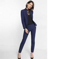 Navy Blue Womens Business Suits Slim Fit Ladies Pant Suits Female Trouser Suit  Business Outfits 78103e03e