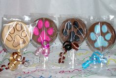 Chocolate Animal Paw Print lollipops by candycottage on Etsy, $16.00