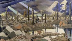 Paul Nash, The Menin Road Öl auf Leinwand, x 317 cm, Imperial War Museum, London. World War One, First World, Elizabeth Forbes, Your Paintings, Landscape Paintings, Landscapes, Abstract Landscape, Ww1 Art, Road Painting