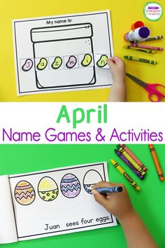 This set of April EDITABLE Name Games and Activities will help your Pre-K or Kindergarten students with hands-on, FUN name practice this Easter and spring season! These learning activities can be a great addition to your literacy centers! Word Family Activities, Letter Activities, Phonics Activities, Learning Activities, Kindergarten Literacy, Literacy Centers, April Name, Name Practice, Name Crafts