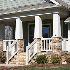 Porch remodeling idea for columns and stone