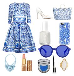 Blue Sunday by naomi9012 on Polyvore featuring polyvore, fashion, style, Dolce&Gabbana, Gianvito Rossi, HEATHER BENJAMIN, Etnia Barcelona, Casetify, Urban Decay, tarte, Elizabeth Arden and Essie