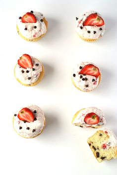chocOlate chip cupcakes with strawberry whipped cream frosting